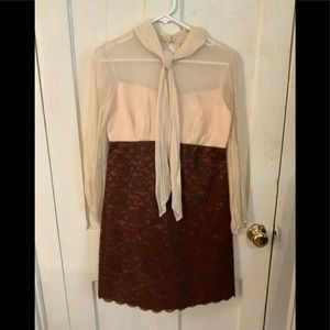 Vintage ILGWU Sheer Top Dress, Lace Bottom Sz Sm